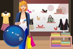 hawaii map icon and a woman shopping in a clothing store
