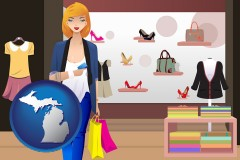 a woman shopping in a clothing store - with MI icon