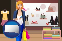 south-dakota map icon and a woman shopping in a clothing store