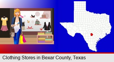 a woman shopping in a clothing store; Bexar County highlighted in red on a map