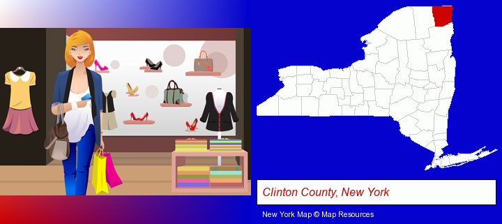 a woman shopping in a clothing store; Clinton County, New York highlighted in red on a map