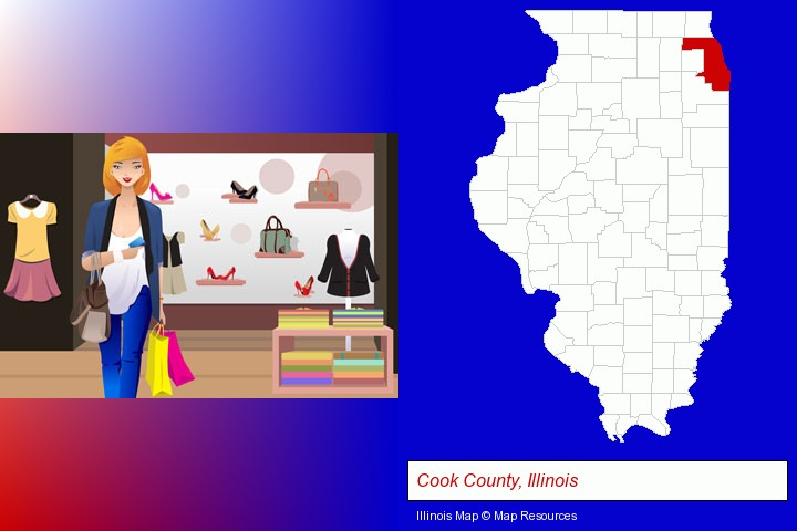 a woman shopping in a clothing store; Cook County, Illinois highlighted in red on a map