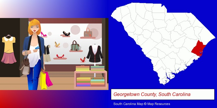 a woman shopping in a clothing store; Georgetown County, South Carolina highlighted in red on a map