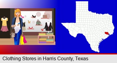 a woman shopping in a clothing store; Harris County highlighted in red on a map