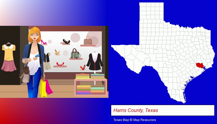 a woman shopping in a clothing store; Harris County, Texas highlighted in red on a map