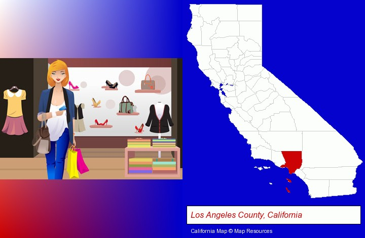 a woman shopping in a clothing store; Los Angeles County, California highlighted in red on a map