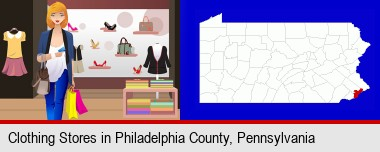 a woman shopping in a clothing store; Philadelphia County highlighted in red on a map