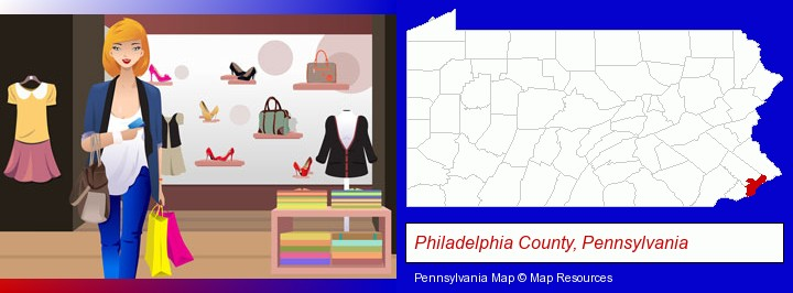 a woman shopping in a clothing store; Philadelphia County, Pennsylvania highlighted in red on a map