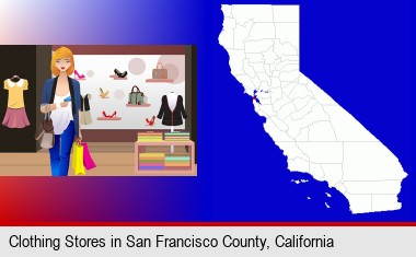 a woman shopping in a clothing store; San Francisco County highlighted in red on a map