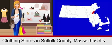 a woman shopping in a clothing store; Suffolk County highlighted in red on a map