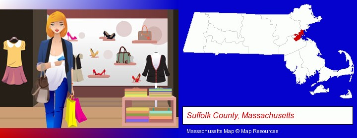 a woman shopping in a clothing store; Suffolk County, Massachusetts highlighted in red on a map