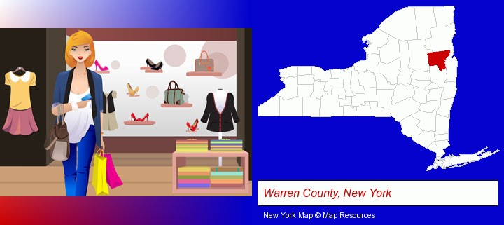a woman shopping in a clothing store; Warren County, New York highlighted in red on a map
